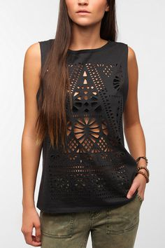 Title Unknown Laser Cut Muscle Tee  #UrbanOutfitters. i could totally do this.