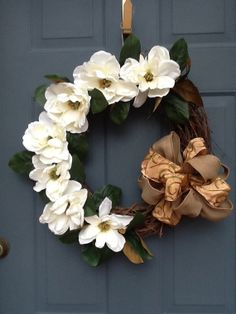 Beautiful Magnolia Grapevine Wreath by Cindyswreathsand on Etsy, $55.00