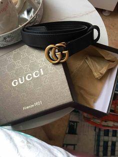 86ec40bfbd3 GUCCI black matte GG belt buckle with box