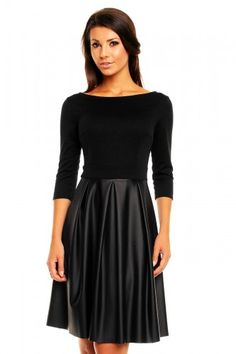 czarne, sukienki, skóra, modne, rozkloszowane, sklep, online, kartes