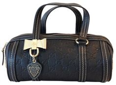 Gucci Leather Duchessa Boston Bag Black GG Monogram