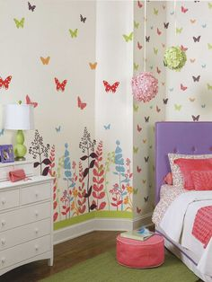 A very girly place with butterfly wallpaper http://lelandswallpaper.com.  Width: 36 in, 2 vertical panels  Repeat: none  Height: 120 in (Spool)  pre-pasted, washable, strippable  white background with brightly colored and plants and butterflies in a variety of unique patterns. pairs of panels can be combined in any number to cover a full wall or create an accent area. $47.99 per single roll