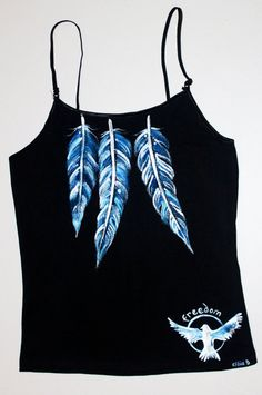 Hand Painted Clothing Blue Feathers and Fly Freedom Bird // Bohemian Hippie Painted Black Vest top  // Women Day to Evening wear on Etsy, Sold