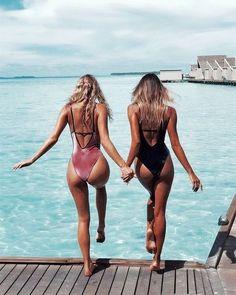 Sexy One Piece Swimsuit 2017 New Summer Swimming Backless Monokini Swimsuit Swimwear Women Bathing Suit Swim Wear Gold velvet Bff Goals, Best Friend Goals, Best Friends, Squad Goals, Friends Forever, Photos Bff, Friend Photos, Images Photos, The Bikini