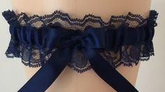 Navy Blue Lace Wedding Garter, Bridal Garter