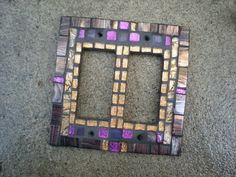 Mosaic Double Rocker Light Switch Cover - Copper and Purple by MariposaMosaics