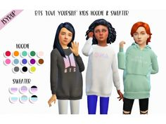 """"""" ♡ BTS """"Love Yourself"""" Kids Sweater & Hoodie ♡ hello everyone! id like to present u my first ever custom content for the sims 4 which is a recolour of two tops ! since my kings bts' comeback is v near & it has me extremely excited i. Sims 4 Cc Packs, Sims 4 Mm Cc, Sims 4 Cc Skin, Sims Four, Sims 4 Toddler Clothes, Sims 4 Cc Kids Clothing, Toddler Cc Sims 4, Mods Sims 4, The Sims 4 Cabelos"""