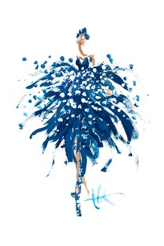 Ballerina dressed in blue. Illustrated by Paper Fashion.