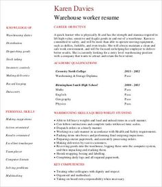 Warehouse Manager Resume Templates | 11+ Free MS Word U0026 PDF
