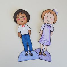 """If you look closely, you will notice that these two people come from the same Unisex Printable Paper Doll Template. There's no need to get a """"boy"""" or """"girl"""" printable paper doll when you have a free printable that can be either. Paper Doll Template, Paper Dolls Printable, Templates Printable Free, Printables, Paper Dolls Clothing, Boy Doll, How To Make Paper, Free Paper, Flower Cards"""