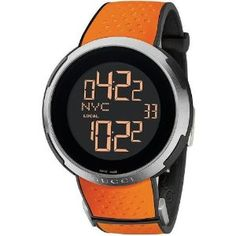 Gucci Watch YA114104 Mens Swiss Digital I-Gucci Orange Perforated Rubber on Black Rubber: Amazon.co.uk: Watches