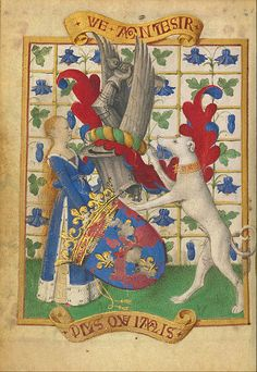 Jean Fouquet (French, born about 1415 - 1420, died before 1481) - Coat of Arms Held by a Woman and a Greyhound