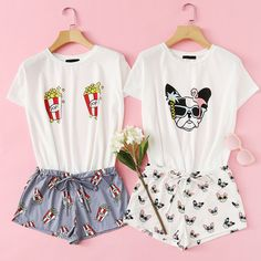 Popcorn print top and shorts pj set Cute Pajama Sets, Cute Pajamas, Pj Sets, Pajama Outfits, Girl Outfits, Cute Outfits, Fashion Outfits, Womens Fashion, Girls Pjs