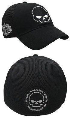 Hats 52365  Harley-Davidson Willie G Skull Black Baseball Cap Stretch Fit  Bc119930 - 57302a92bb18