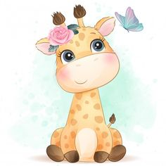 Cute little giraffe with watercolor effe. Cartoon Cartoon, Boat Cartoon, Cartoon Giraffe, Little Giraffe, Little Panda, Baby Giraffes, Baby Animal Drawings, Cute Drawings, Watercolor Effects