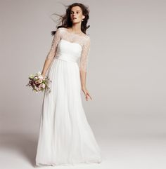 Jenny Yoo 'Rowan' #nordstromweddings - Love the idea of the lace top.