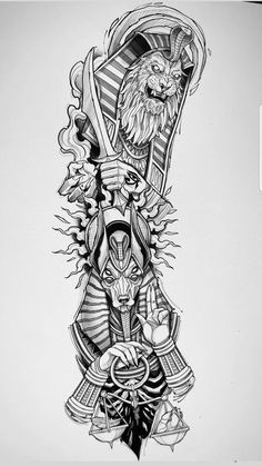 Egyptian Tattoo Sleeve, Arm Sleeve Tattoos, Tattoo Sleeve Designs, Forearm Tattoos, Tattoo Designs Men, Body Art Tattoos, Egypt Tattoo Design, Tattoo Design Drawings, Tattoo Sketches