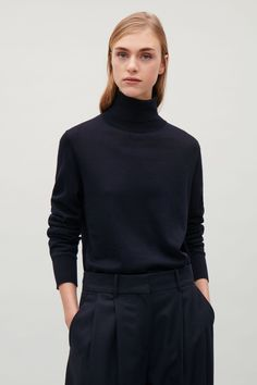 COS Roll-neck merino jumper in Navy