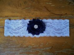 Navy blue garter by BloomsandBlessings on Etsy