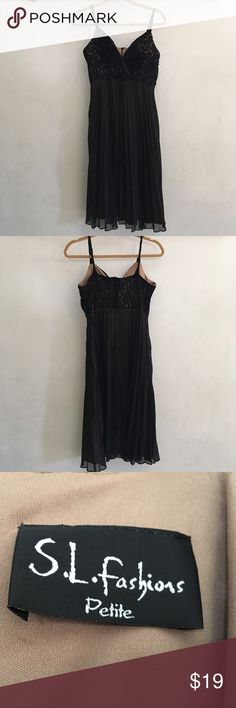 Dress SL Fashion Petite black dress. Size L (12). Sequin bodice, twisted shoulder straps and pleated mesh skirt over nude underlay. Dry clean SL Fashions Dresses