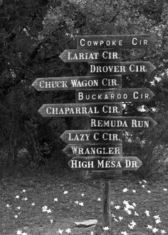 Street signs / actual places or for the themes you want to cover