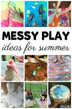 Awesomely Messy Play Ideas for Kids to Try this Summer : These summer messy play ideas are must-dos with the kids! Love the collection of sensory and art messy play activities for kids of all ages. I think these would be perfect for summer camps, too. Summer Activities For Toddlers, Indoor Activities, Sensory Activities, Infant Activities, Learning Activities, Camping Activities, Sensory Play, Family Activities, Kid Activites