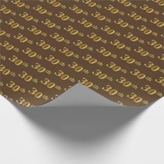 Brown Faux Gold 30th (Thirtieth) Event Wrapping Paper - diy individual customized design unique ideas