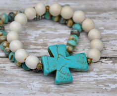 NEW Chunky Turquoise Cross Bead Bracelet