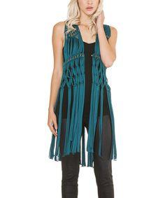 Look at this #zulilyfind! Teal Embellished Fringe Vest - Women by Adore #zulilyfinds