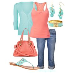 """Turquoise and Coral"" by lovelyingreen on Polyvore"