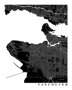 Vancouver Map Art Map Print City Map Black by TheMapCollection