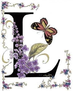 The Flower meaning for Lilac is Youthful, Innocence, First Love. This Alphabet took me a year to complete, not only making sure that each letter was the same font and size, but also searching for the names and butterflies to coincide with the letter. Alphabet Art, Alphabet And Numbers, Floral Letters, Monogram Letters, Graphic 45, Lettering Design, Hand Lettering, Letter L, Calligraphy Letters
