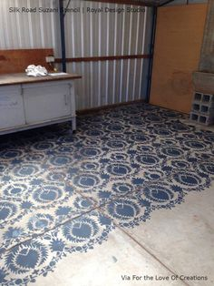 Silk Road Suzani Exotic Floor Stencils for Painting Large Rooms - Royal Design Studio