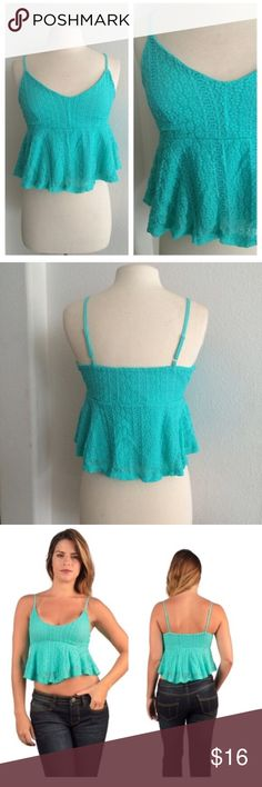 """Teal crop top Lace/ crochet crop top S: L: 18"""" B: 30"""" M: L: 19"""" B: 32"""" L: L: 20"""" B: 34"""" Outer: 90% nylon/ 10% spandex. Lining: 100% polyester. The straps are adjustable. Great stretch! Top in photos is size L. Fully lined.  Availability: S•M•L • 2•1•2 ⭐️This item is brand new from manufacturer without tags.  🚫NO TRADES 💲Price is firm unless bundled 💰Ask about bundle discounts Tops Crop Tops"""