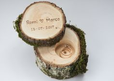 Wooden ring box with moss, made from mapple or oak.   We can burn your names, initials, date etc.   This wooden ring box will be wonderful addition for your rustic wedding. It is made from two...