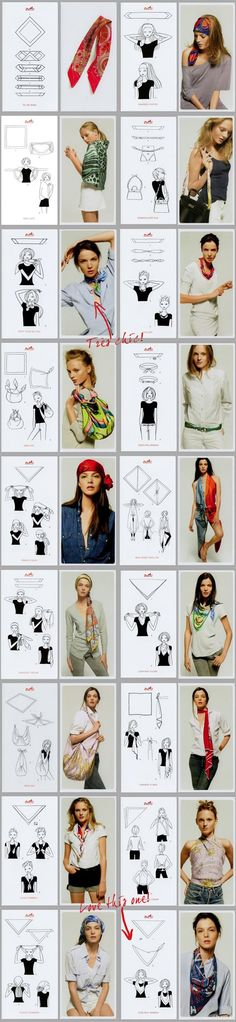 40 Ways to wear a scarf by Hermes :: Like the smallest, retro, tie ~ high at neck ~ and the lowest right column. Need to experiment w/head scarves ... and pulling back my hair.