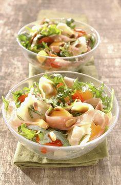 20 receitas de macarrão - Salada de ravioli com rúcula e melão