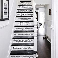 Amazon.com: Letters Wall Decor Stickers Stair Decals Quotes Stairway Decals Quote Steps Vinyl Stickers Lettering Family Staircase Decal: Kitchen & Dining Stair Stickers, Wall Stickers Murals, Tile Decals, Vinyl Decals, Staircase Decals, Stairs Vinyl, Book Stairs, Steps Quotes, You Are Incredible