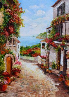 ORIGINAL pintura al óleo la belleza de verano 23 x 36 francés