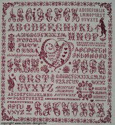 Red cross stitch Corazon Sampler from Clorami Designs.  www.clorami-designs.be