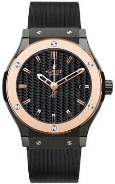 Hublot Classic Fusion Black Carbon Fiber Dial Rose Gold Black Rubber Mens Watch