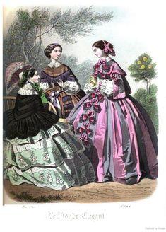 1850s Fashion, Edwardian Fashion, Vintage Fashion, Civil War Fashion, Civil War Dress, Victorian Costume, 19th Century Fashion, Vintage Gowns, Fashion Plates