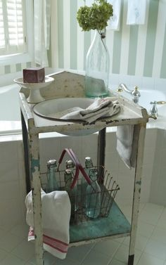 Vintage Metal Washstand but I could make it from a found square table