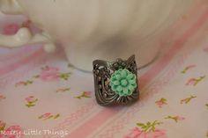 Dainty Daisy Cuff Ring.. Aqua