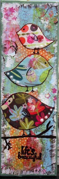 birds. Voorbeeld workshop Mixed media