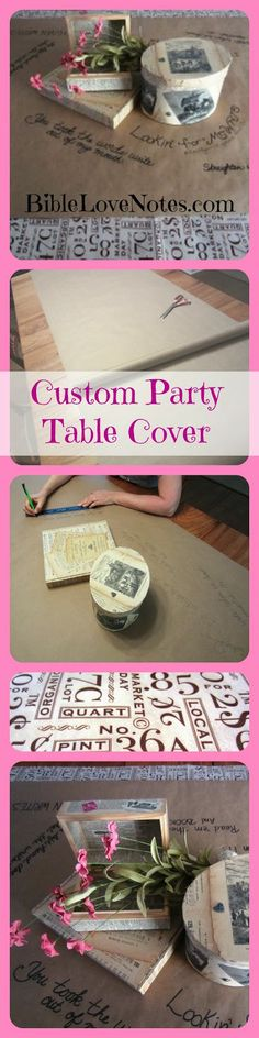 Create a custom table cover for a party or holiday. This can be used for adults or children, and you can even make it interactive. This example is a table covering for a writers' party.