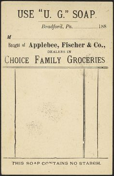 Vintage U. G. Soap receipt ~ ephemera