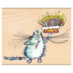 Penny Black Rubber Stamp BIRTHDAY WHISKERS 4387K