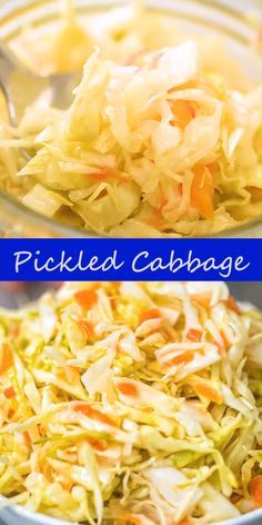 This Easy Pickled Cabbage is crunchy, tangy, sweet, and seriously addicting. It's easy to make and ready to eat in about 12 hours. Authentic Mexican Recipes, Easy Vegetable Recipes, Vegetable Dishes, Pickled Cabbage, Cabbage Salad, Mexican Food Recipes, Vegan Recipes, Bread Recipes, Comida India