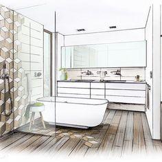 "Bathdesign for ""Boulevard"" tile by Engers Ceramics #arch_more #arqsketch #archidaily #arquisemteta #arquitetapage #arqsketch #architektur #architecture #architecturedesign #bathroom #bathdesign #badplanung #ceramics #gekkoe #interior #interiør #interiordesign #interiørdesign #interiordesigners #papodearquiteto #sketches #sketch #sketching #tile #tiles"